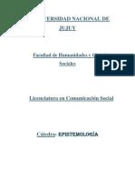 Universidad Nacional de Jujuy Resumen de Epistemologia