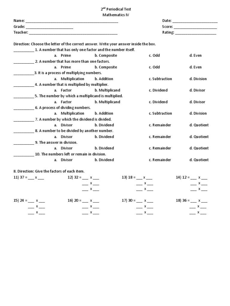 2nd Periodical Test Math