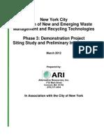 New York City Study of Potential WTE sites