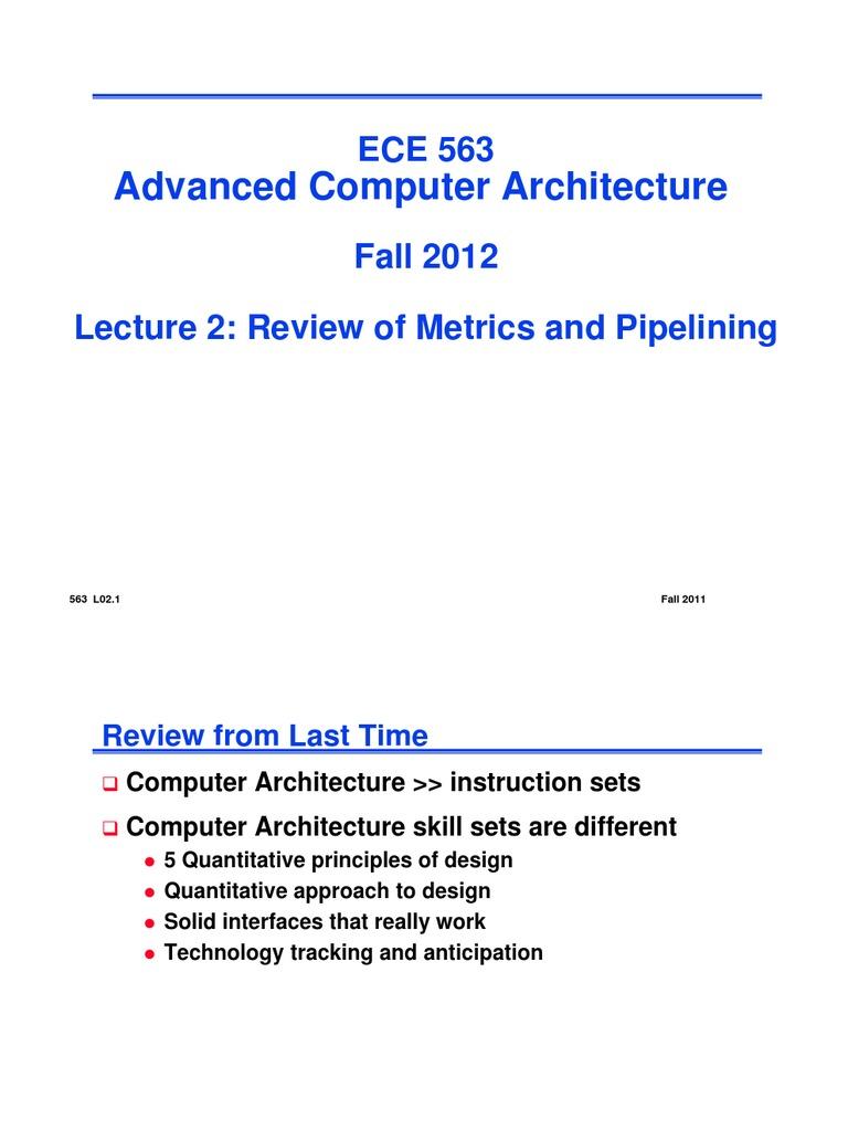 Advanced Computer Architecture 563 L02 1 Fall 2011 Instruction Set Central Processing Unit