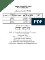PSAT Schedule 2012