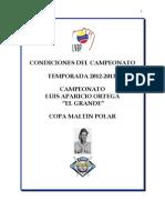 Condiciones Del Campeonato 2012-2013
