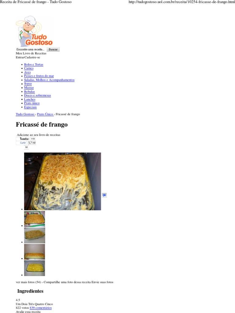 Receita De Fricassé De Frango Tudo Gostoso