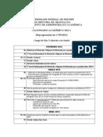calendário academico UFS