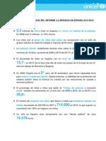 Hechos y cifras clave del informe La infancia en España 2012-2013