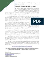 """""""Les attaques contre les Facultés de droit, ça suffit"""" - Communiqué de Supautonome droit - 10 octobre 2012"""