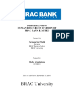 Intern Report on BRAC BANk Limited