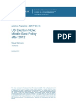 US Election Note- Middle East Policy After 2012
