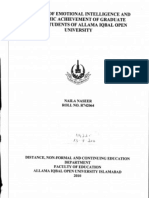 A Study of Emotional Intelligence and Academic Achievement of Graduate Students of Aiou Islamabad
