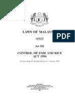 Control of Padi and Rice Act 1994 _Act 522
