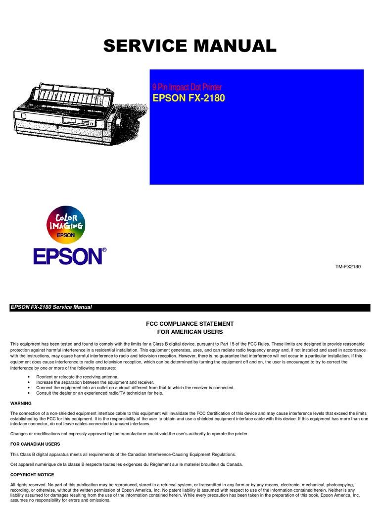 epson lq 2180 printer service manual