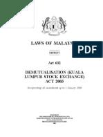 Demutualisation (Kuala Lumpur Stock Exchange) Act 2003 _Act 632