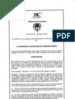"""Resolución 3151 de 2011- """"Por medio de la cual se establece la tarifa de contribución a la CRC para la vigencia del año 2012"""""""