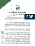 Resolución Ministerial N° 267-2012-MINAM Descripción