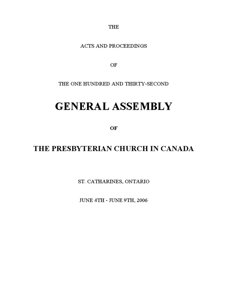132nd (2006) Acts & Proceedings | Presbyterianism | Church Organization
