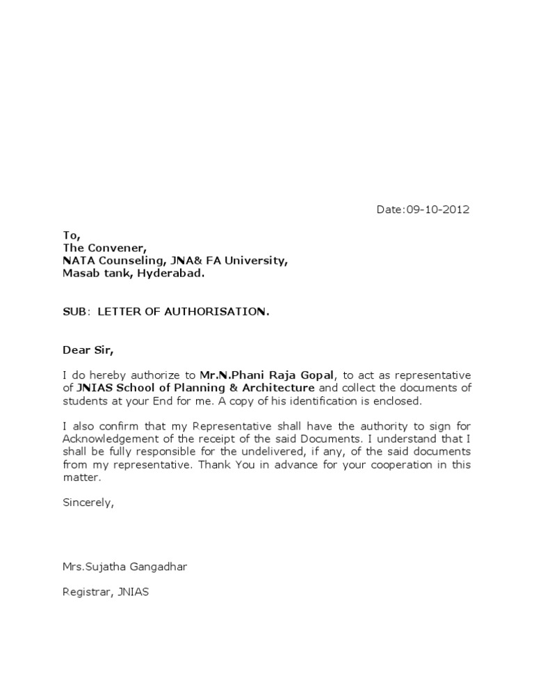 Authorisation Letter 09-10-12Authorization Letter. Authorization