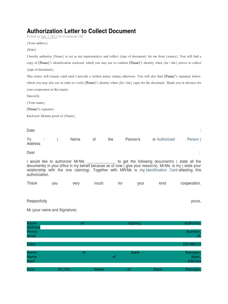 Authorization Letter To Collect Document