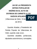 PALABRAS DE AGUIRRE ENTREGA CARNÉTS EN VILLAVICIOSA 10 10 12