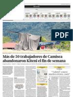 Trabajadores de Camisea abandonan sus campamentos
