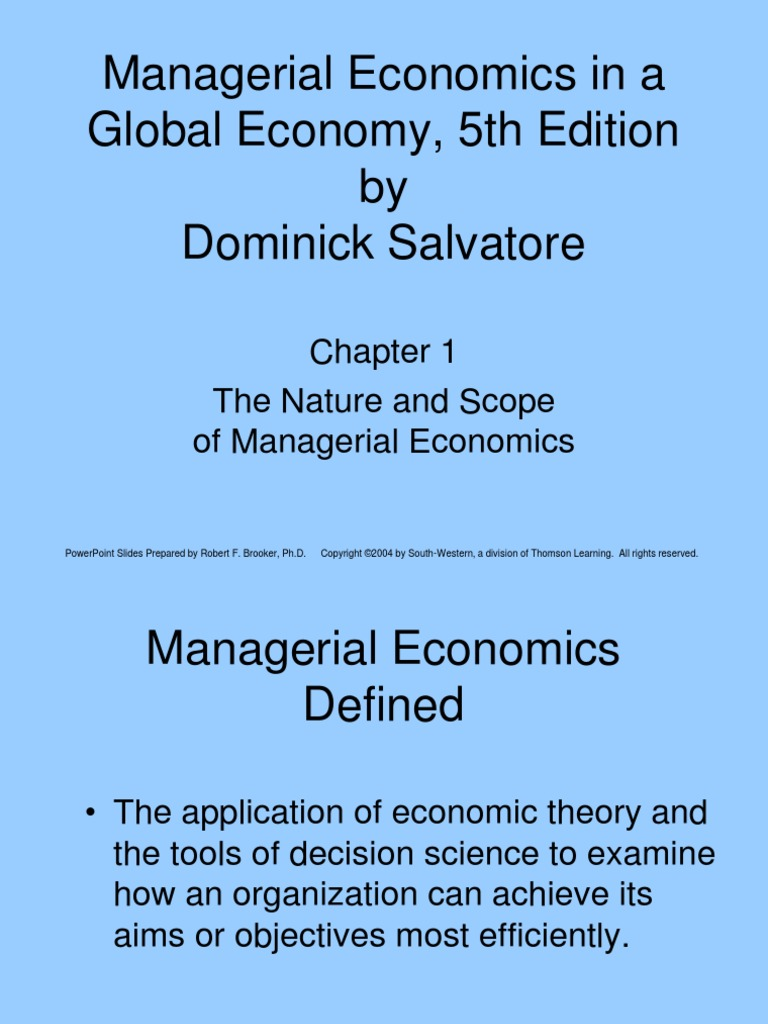 Managerial Economics in a Global Economy, 5th Edition Chapter 1   Decision  Theory   Profit (Economics)
