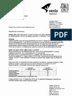 Brief van de burgemeester van Venlo naar de gemeenteraad