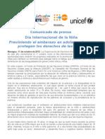 Comunicado de prensa Dia Internacional de la Niña