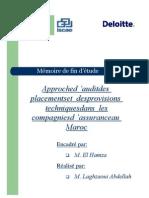 Approche d'audit des placements et des provisions techniques dans les compagnies d'assurance au Maroc