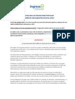 FECHAS POSTULACIÓN A CREDITOS Y BECAS 2013-2
