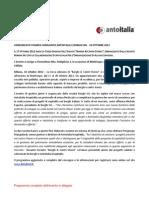 COMUNICATO STAMPA Congiunto Borghi Srl e Antoitalia del 10-10-2012 | Convegno Borghi e Centri storici