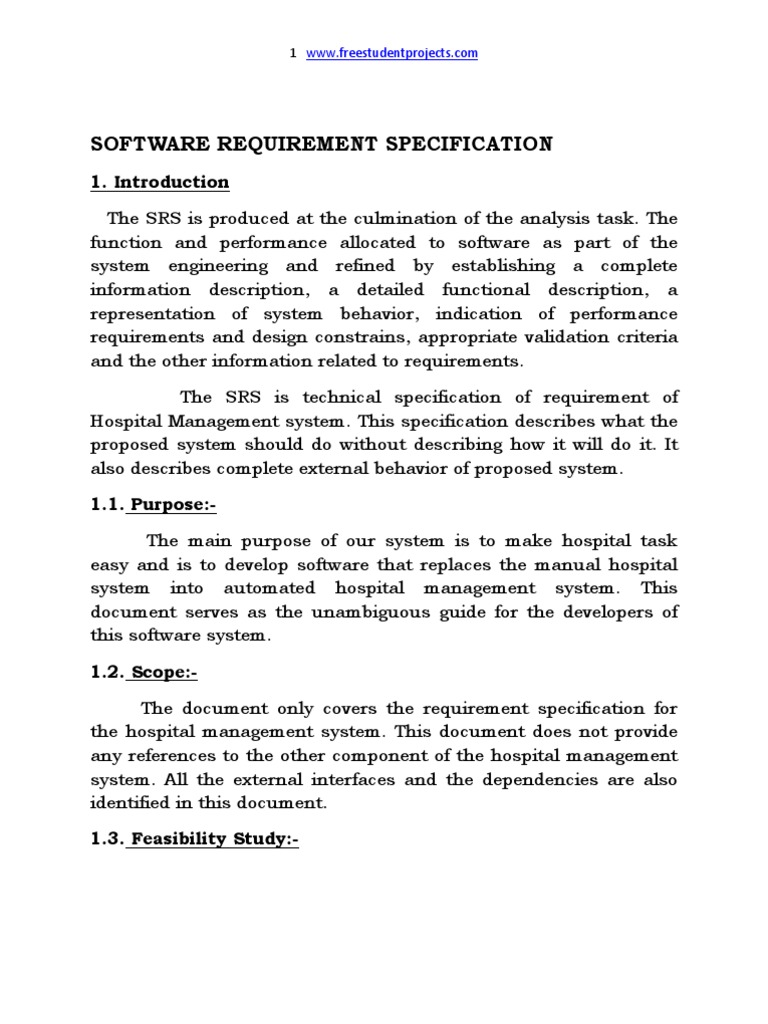 Hostpital Management System Srs Patient Feasibility Study