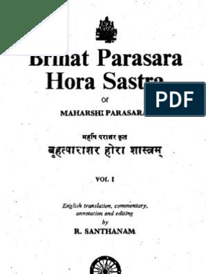 68036908 BPHS Santhanam Vol 1 | Hindu Astrology | Technical Factors