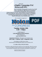 Rick Nolan for Congress HRC + Stonewall Fundraiser Invitation