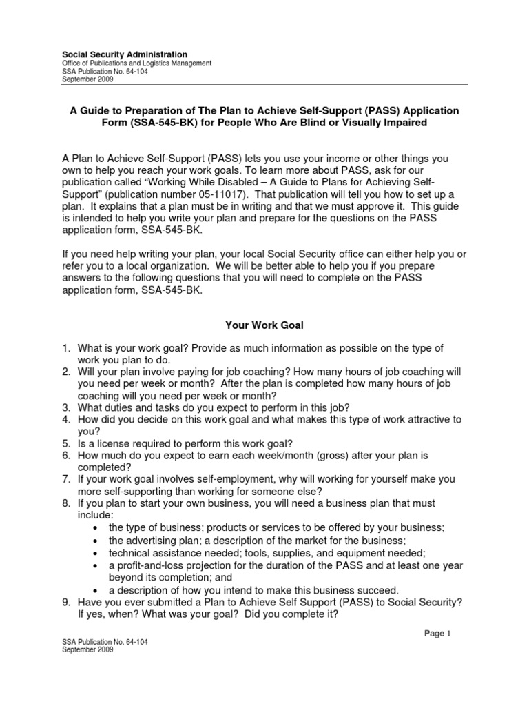 64-104 PASS Application Guide | Expense | Social Security Administration
