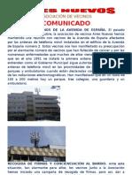 COMUNICADO REUNIÓN VECINOS ANTENA PLAZA ESPAÑA