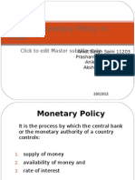Current Monetary Policy in India