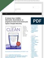 El método Clean_ ELIMINA -RESTAURA- REJUVENECE. Un programa de salud revoluc
