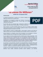 La danza de millones -  Análisis Presupuesto 2013