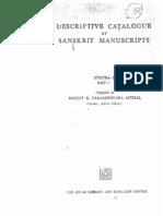 Descriptive Catalogue of Sanskrit Manuscripts Stotras Part-I - Compiled by Parameshwara Aithal
