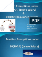 Tax Exemptions 10(10AA) &10 (10D)