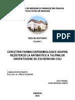 Cercetari Farmacoepidemiologice Asupra Rezistentei La Antibiotice a Tulpinilor Uropatogene de Escherichia Coli