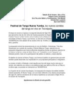 Festival de Tango Nueva Yumba, los nuevos sonidos del tango en vivo en Tecnópolis