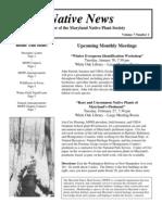 January - February 2007 Native News ~ Maryland Native Plant Society