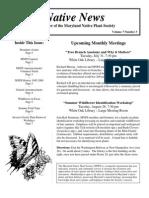 July - August 2007 Native News ~ Maryland Native Plant Society