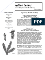 January - February 2008 Native News ~ Maryland Native Plant Society