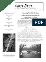 January - February 2009 Native News ~ Maryland Native Plant Society