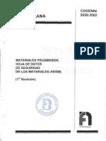 COVENIN 3059:2002. MATERIALES PELIGROSOS. HOJA DE DATOS DE SEGURIDAD DE LOS MATERIALES (HDSM)