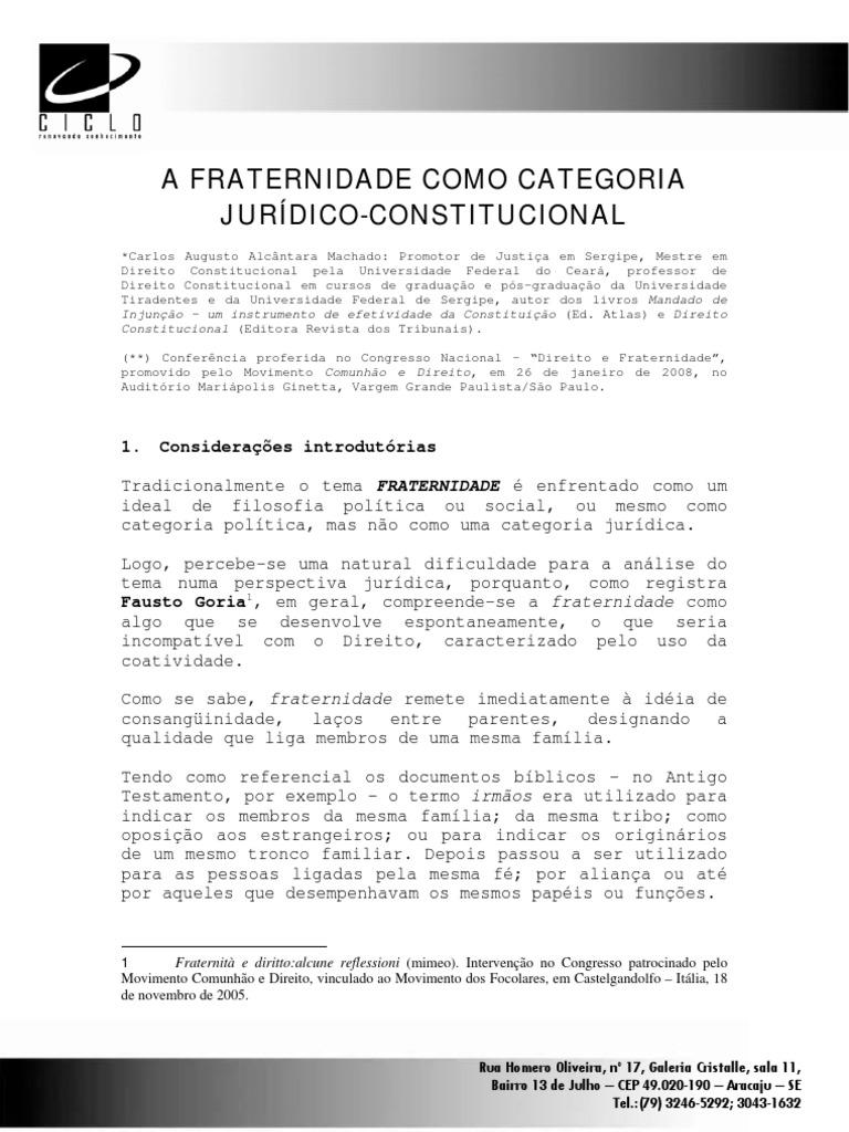 carlosmachado_afraternidadecomocategoriajuridicoconstitucional1632 Artigo 5 Da Constituicao Federal De 1988 #2