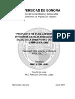 Propuesta de Plan Maestro Para La Division de Ciencias Biologicas y de La Salud Campus Cajeme