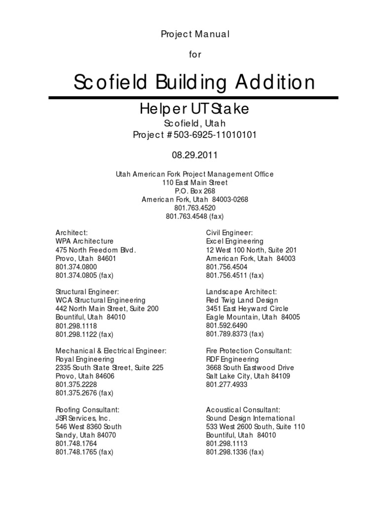 Scofield Bldg. Addition Project Manual (503-6925), 2011-09-0 ...