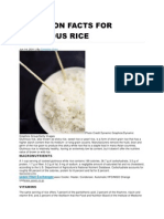 Nutrition Facts for Glutinous Rice